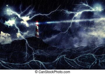 灯台, 嵐である, 海