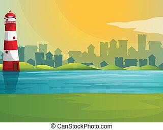 灯台, 川, 丘