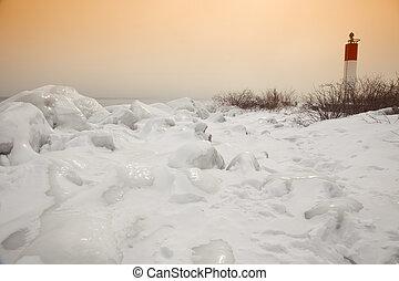 灯台, 日没, 冬