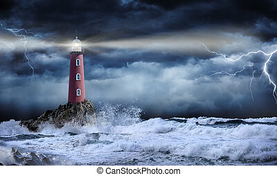 灯台, 概念, 嵐である, -, 風景, リーダー, ビジョン