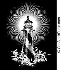 灯台, 波, 荒い, 岩