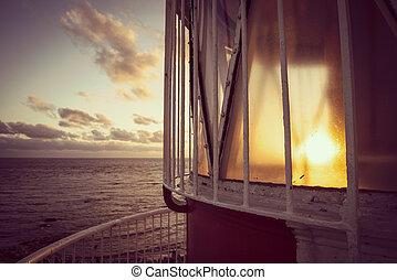 灯台, 浜, 風景, の上, 光景