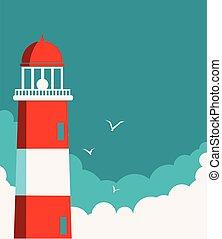 灯台, 背景, poster., ベクトル, 海景