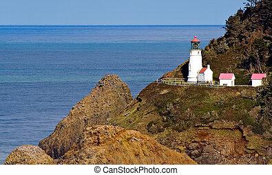 灯台, 頭, オレゴン海岸, 終わり, heceta, 光景