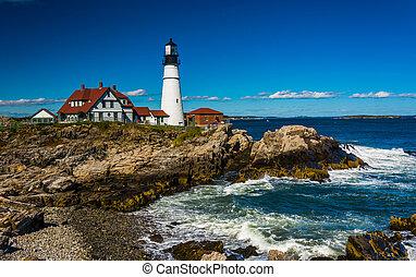 灯台, 頭, 海洋, 大西洋, ポートランド, williams, 城砦