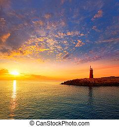 灯台, alicante, 日没, denia, 夕闇