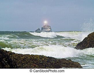 灯台, tilly, ライト, ひどい, オレゴン海岸, 照ること