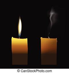 灯心, 現実的, 煙, 透明, 絶えた, ろうそく, 燃えている