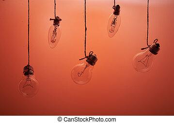 灯泡, 挂起在上, a, 背景