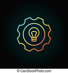 灯泡, 齿轮, 色彩丰富, 图标