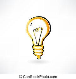 灯泡, grunge, 图标