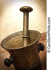 灰漿, 老, 青銅, 研杵