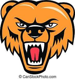灰熊, 憤怒, 頭, 熊, 卡通