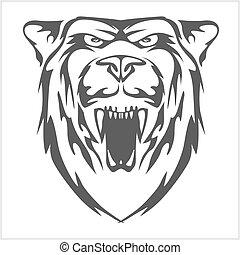 灰熊, -, 頭, 熊, emblem.
