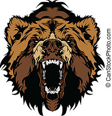 灰色的熊, 吉祥人, 頭, 矢量, gra