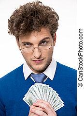 灰色的背景, 钱, 结束, 握住, 商人, 玻璃杯, 开心