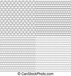 灰色, うろこ状, セット, seamless, パターン