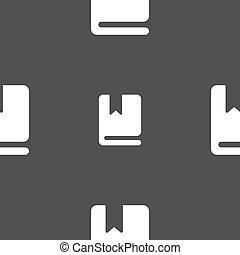 灰色, しおり, パターン, 印。, seamless, バックグラウンド。, ベクトル, アイコン