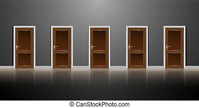 灰色, について, 廊下, options., 反射, floor., wall., 暗い, 木製である, 5, ドア, 記事, 選択, ∥あるいは∥, 横列