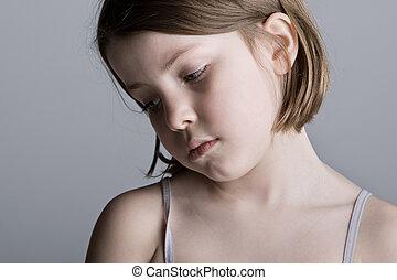 灰色, に対して, 悲しい, 見る, 背景, 子供
