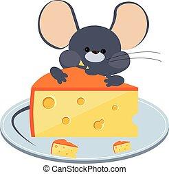 灰色, わずかしか, プレート。, チーズ, イラスト, ベクトル, かむ, マウス