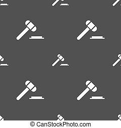 灰色, オークション, パターン, 印。, seamless, バックグラウンド。, ベクトル, 裁判官, ハンマー, ∥あるいは∥, アイコン