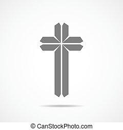 灰色, キリスト教徒, illustration., 交差点, ベクトル, icon.