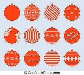 灰色, クリスマス, 赤, ボール, 品質, バックグラウンド。, 高く, baubles., 隔離された, セット, ステッカー, ベクトル, マジック