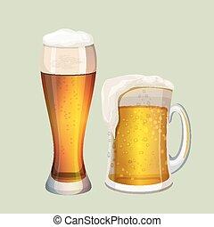 灰色, グラフィック, 大きい, 2, ビール, 泡だらけ, ガラス, アイコン