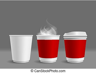 灰色, コーヒー, 煙, カップ, イラスト, 暑い, ベクトル, 背景