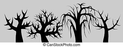 灰色, シルエット, スケッチ, フレーム, 木, バックグラウンド。, 落葉性, 黒, minimalism, 曲がった