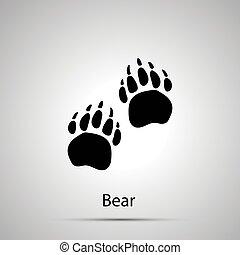 灰色, シルエット, 痕跡, 単純である, 熊, 足, ステップ, 黒