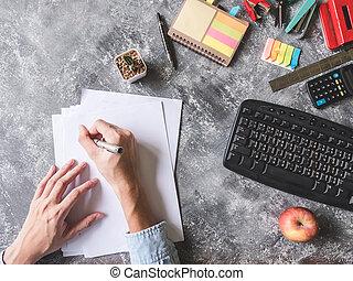 灰色, シート, オフィス, 平面図, 執筆, ペーパー, 背景, 手, グランジ, マレ, 供給
