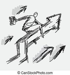 灰色, スケッチ, ビジネスマン, 成功, ビジネス, グラフ, concept., editable, 隔離された, イラスト, 手, いたずら書き, バックグラウンド。, ベクトル, 黒, artwork., 乗馬, 引かれる, ライン, 上向きに