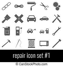 灰色, セット, アイコン, バックグラウンド。, 白, 1., repair., アイコン
