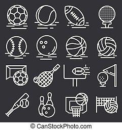 灰色, セット, アイコン, ボール, スポーツ, バックグラウンド。, ベクトル