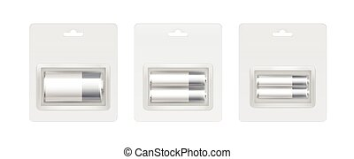 灰色, セット, アルカリ, 電池, 白, 銀