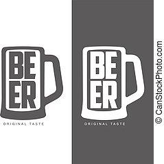 灰色, セット, ロゴ, 単純である, ラベル, ビール