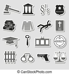 灰色, セット, eps10, 正義, 法律, ステッカー