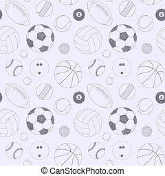 灰色, セット, sketch., パターン, seamless, 手, バックグラウンド。, ベクトル, 項目, included, 引かれる, balls., スポーツ