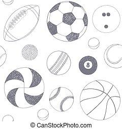 灰色, セット, sketch., パターン, seamless, 手, バックグラウンド。, ベクトル, 項目, included, 引かれる, balls., スポーツ, 白