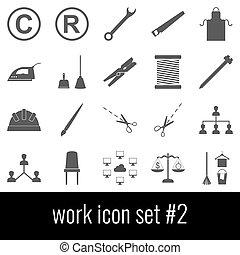 灰色, セット, work., アイコン, バックグラウンド。, 2., 白, アイコン