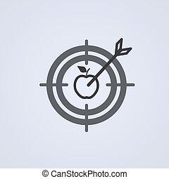 灰色, ターゲット, shoot., 成功した, 目標, バックグラウンド。, ベクトル, さっと動く, アイコン, illustration.