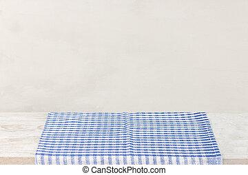 灰色, チェックされた, 木製である, 上に, 壁紙, 赤い背景, 机, テーブル, テーブルクロス, 空
