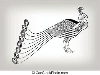 灰色, テンプレート, 背景, 有用, 装飾, 紋章, 隔離された, 白, 定型, 黒, 図画, 孔雀, 入れ墨, 鳥, 装飾用, 勾配