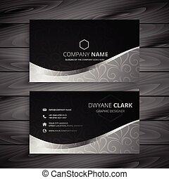 灰色, デザイン, ビジネス, 波, 黒, 流行, カード