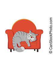 灰色, トラネコ猫, あること, 上に, a, 椅子