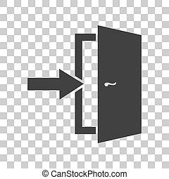 灰色, ドア, 印。, 暗い, バックグラウンド。, 出口, 透明, アイコン