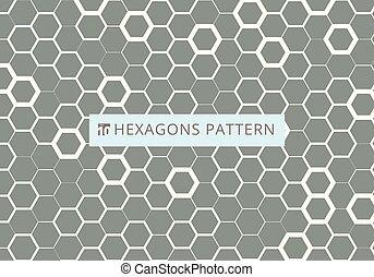 灰色, ハチの巣, パターン, 抽象的, 現代, 六角形, 六角形, バックグラウンド。, 流行, 白, 化学, texture., design.