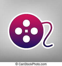灰色, バックグラウンド。, 紫色, 印。, 勾配, ペーパー, vector., 白, 円, フィルム, アイコン